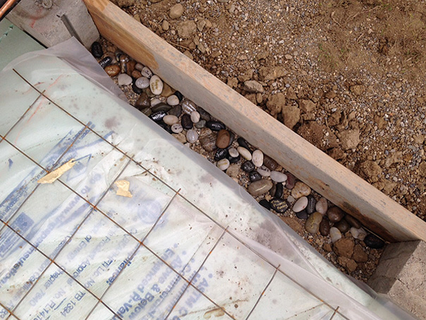 Rocks in foundation